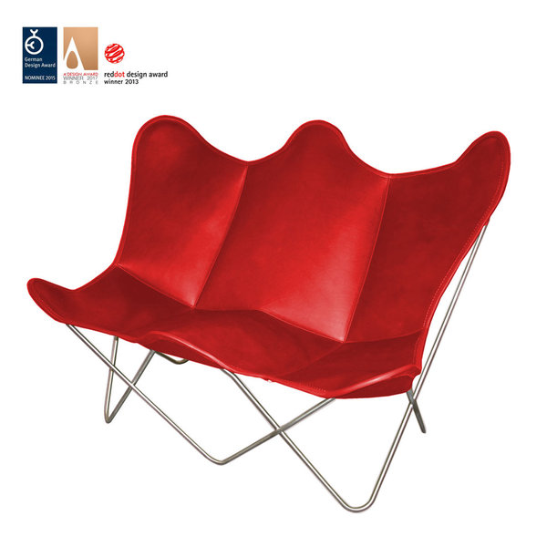 Butterfly TWIN CHAIR leather Ferrari red