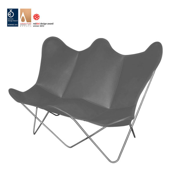 Butterfly TWIN CHAIR leather anthracite