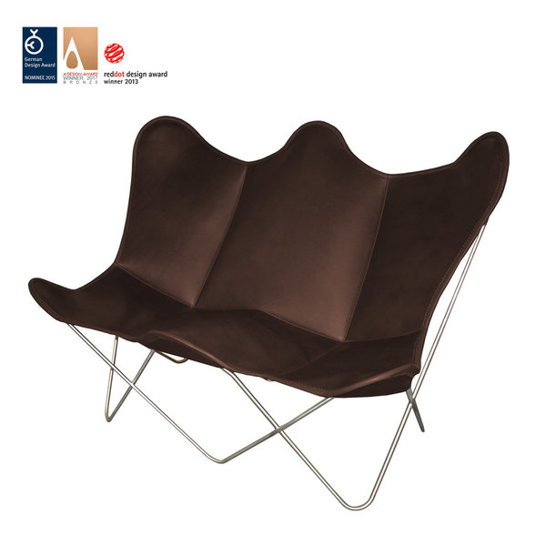 Butterfly TWIN CHAIR leather coffee brown