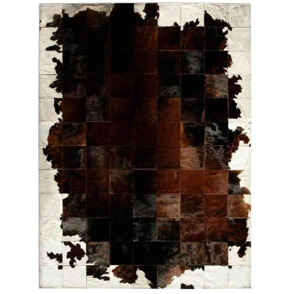 Estancia chic: Patchwork carpet from black and brown cowhide
