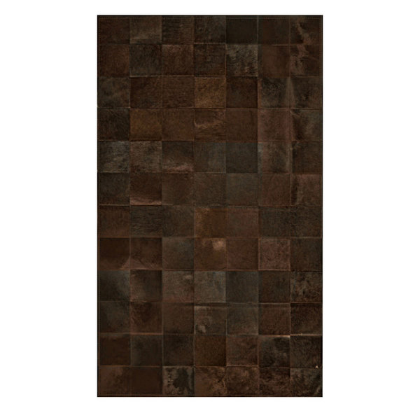 Coffee: Patchwork carpet from dark brown cowhide